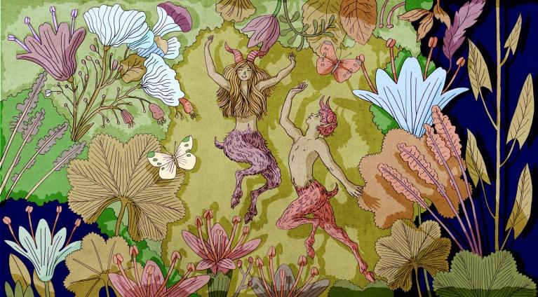 illustration faun flower