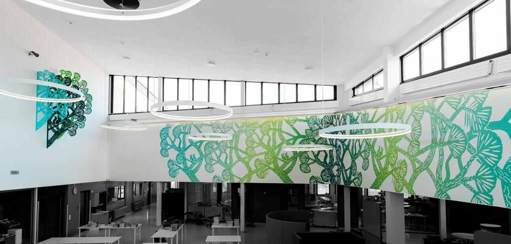Piilopaikka / The Hiding Place , Oravametsä / The Squirrel Forest, installation and print on wall. Korkeakosken koulu, Kotka 2019. Photo: Linda Varoma
